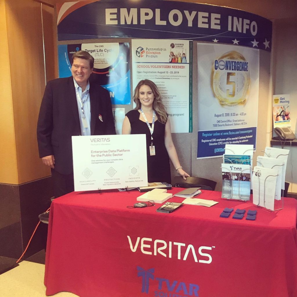 TVAR Solutions attends many events, here is Emily and Jose at Convergence 2019: Centers for Medicare and Medicaid with Veritas