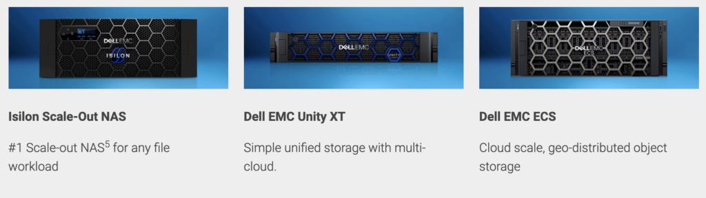 Isilon Scale-Out NAS, Dell EMC Unity XT, Dell EMC ECS