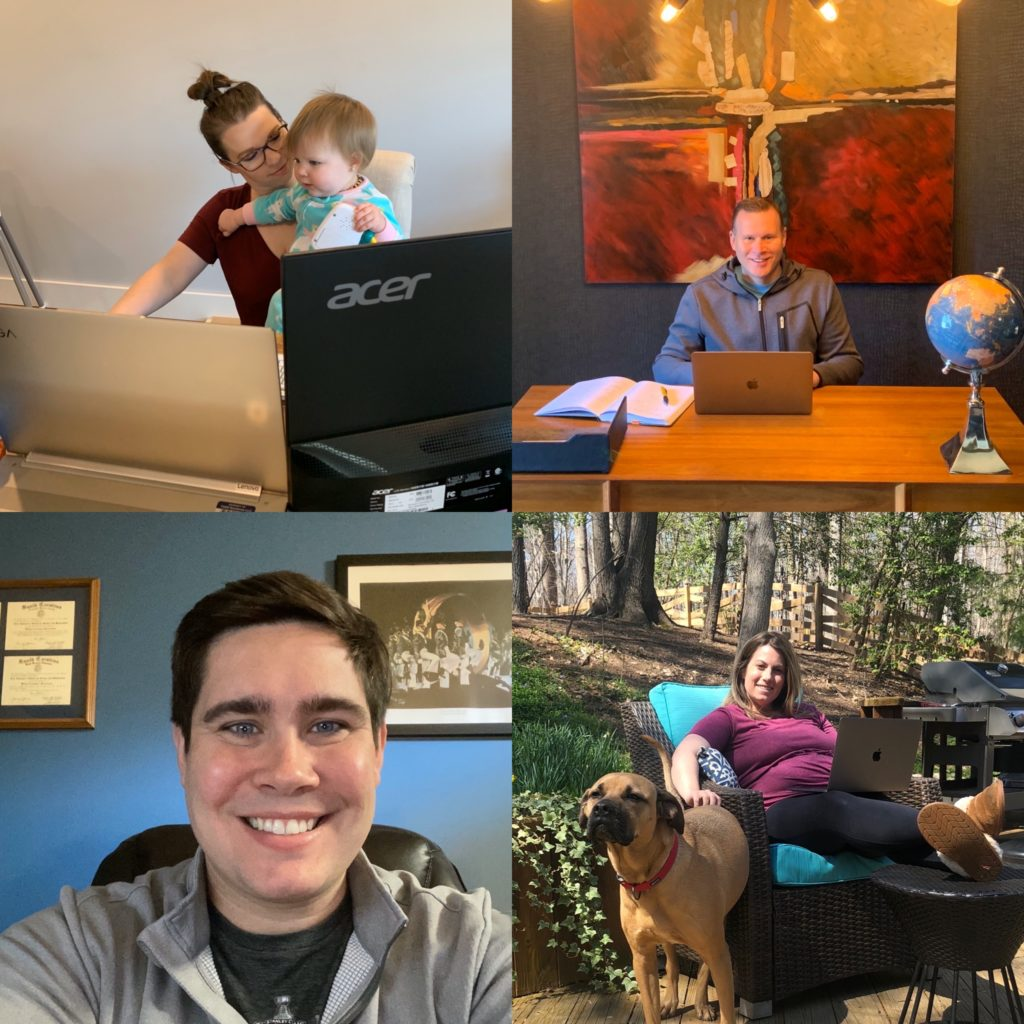 Natalie, Chad, Cris Musselwhite, and Lauren telecommuting.