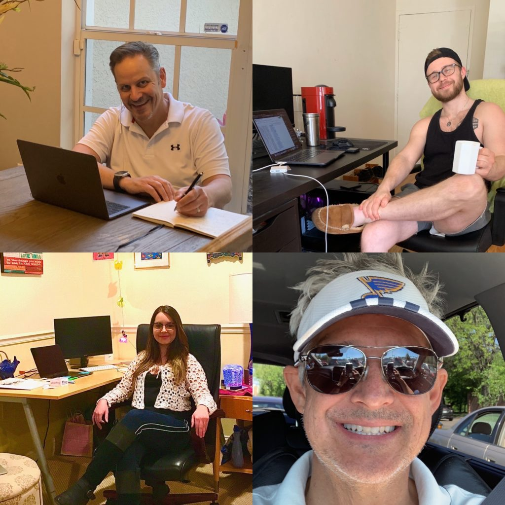 Patrick, Brendon, Sophia, and Chris Thoureen telecommuting.