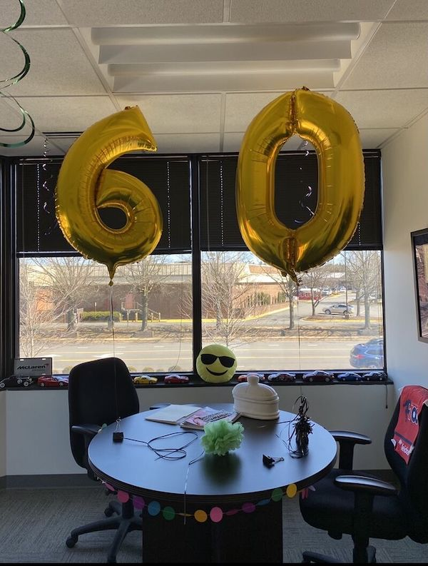 Big 60 Balloons for David Saunders, CEO of TVAR Solutions